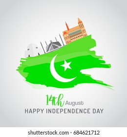 14th of August. Pakistan Independence day Cultural background with flag