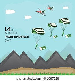 14th of August Pakistan Independence Day Vector illustration with army paratroopers landing on the ground
