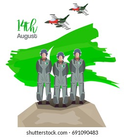 14th of August Pakistan Independence Day Vector illustration with fighter jets and Air force Pilots standing on the rock and celebrating independence