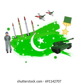 14th of August Pakistan Independence Day Vector illustration with military highest award , missiles , fighter jets , tanks and Air force pilot