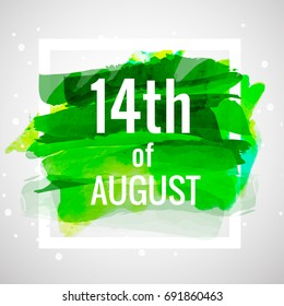 14th of August .Pakistan Independence Day Watercolor vector label/banner