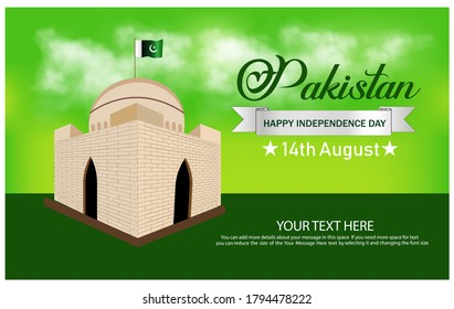 14th August pakistan special day it is suitable for banner and poster. Quide tomb vector illustration.