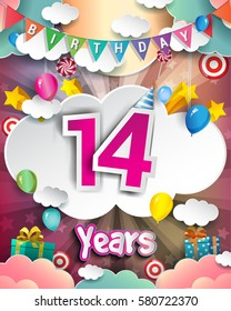 14th Birthday Celebration greeting card Design, with clouds and balloons. Vector elements for the celebration party of fourteen years anniversary