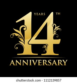 14th gold anniversary logo. abstract classy floral gold color elements celebration background design