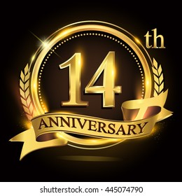 14th golden anniversary logo with ring and ribbon, laurel wreath vector design.