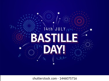 14th July, Bastille Day celebration greeting card or banner design template with text and fireworks in french national colors. - Vector