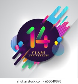 14th years Anniversary logo with colorful abstract background, vector design template elements for invitation card and poster your fourteen birthday celebration