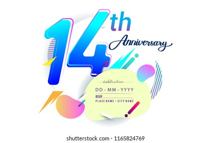 14th years anniversary logo, vector design birthday celebration with colorful geometric background, isolated on white background.