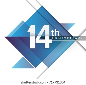 14th years anniversary logo, vector design birthday celebration with geometric isolated on white background.