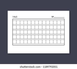 14x5 Squared manuscript paper. Vector stock illustration.