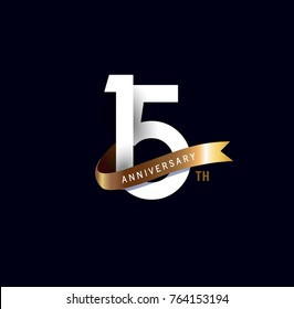 15 anniversary logo with gold ribbon. template design for web, game ,Creative poster, booklet, leaflet, flyer, magazine, invitation card