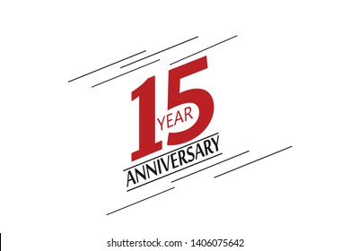 15 anniversary, minimalist logo. 15th jubilee, greeting card. Birthday invitation. 15 year sign. Red space vector illustration on white background - Vector