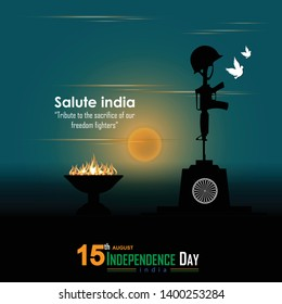 15 august- illustration of Indian army memorial background. Elegant Poster, Banner or Flyer design for Indian Independence Day celebration. - Vector