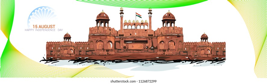 15 August, Incredible India's Culture and Famous Monuments, Creative abstract background with brush strokes,  face book banner, web banner design for Indian Independence Day celebration,