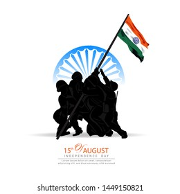 15 august. India independence day celebration background.with Indian Soldiers Taking Flag up Hill.Greeting card and poster Design. Vector illustration - Vector