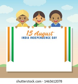 15 August - India Independence Day illustration. Cute cartoon Indian citizen with copy space.