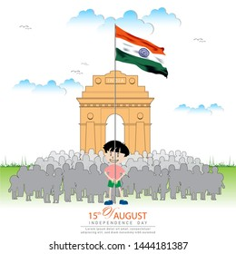 15 August- innovative illustration of Famous Indian monument and Landmark for Happy Independence Day of India.banner,poster,flyer design. vector