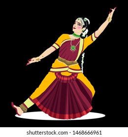 15 august.Beautiful indian women pose ofclassical  dance form with beautiful blue red coloured classical dance costume and heavy jwellery.