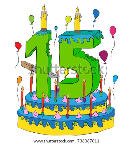 15 Birthday Cake With Number Fifteen Candle Celebrating Fifteenth Year Of Life Colorful Balloons