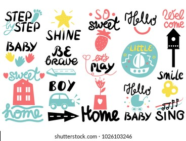 15 children s logo with handwriting Little, Hi, Step by, Smile, Hello baby, Sing, Shine, Welcome, Sweet home, Boy, Be brave Lets play Kids background Poster Emblem