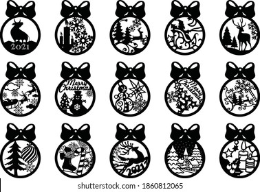 15 Christmas balls Tree Decorations Craft Hanging Bauble Shapes | laser cutting file | Dxf, Svg, Max, Cdr, Eps, FBX, AI, 3DS |Set 107|