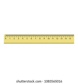 15 cm plastic ruler icon. Realistic illustration of 15 cm plastic ruler vector icon for web design isolated on white background
