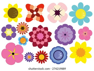 15 Color Flowers Vector Package