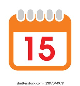 15 date calendar icon. Simple illustration of 15 date calendar vector icon for web