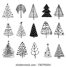 15 designs of Doodle Christmas Trees. to create holiday cards, backgrounds, ornaments, decoration