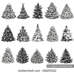 Christmas Tree Sketch Images Stock Photos Vectors Shutterstock