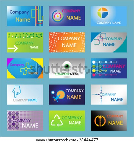 15 Different Business Card Easy Edit Stock Vector (Royalty