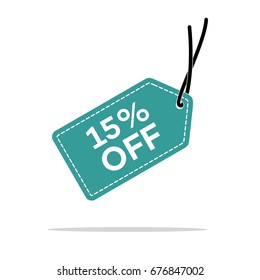 15% Discount Hang Tag Vector Template. Flat Design Illustration Design. Vector EPS 10.