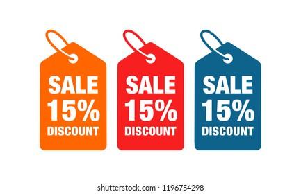 15% discount label symbols vector