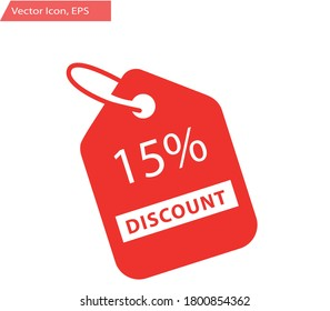 15% Discount Sticker. Sale discount icons. Special offer price signs. Discount Red Tag Isolated Vector Illustration.