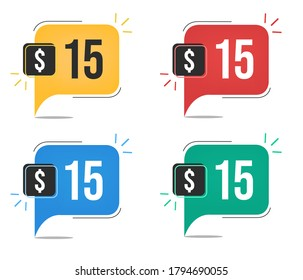 $15 dollar price. Yellow, red, blue and green currency tags. Balloon concept with fifteen dollars for sales.
