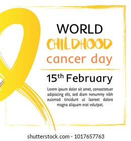15 of February World Childhood Cancer Day vector illustration. Tape for the World Children's Day cancer patients. Watercolor golden crayon Hand drawn ribbon. Design template poster, banner,flayer,web.
