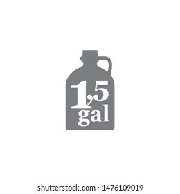 1.5 gal sign (mark) estimated volumes gallons. Vector symbol packaging, labels used in the US for prepacked foods drinks different gallons and quarts. 1.5 gal vol single icon isolated white background