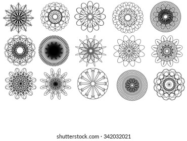 15 isolated spirographs, vector image. EPS10