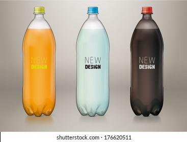 1,5 L transparent plastic bottle for new design. Sketch style