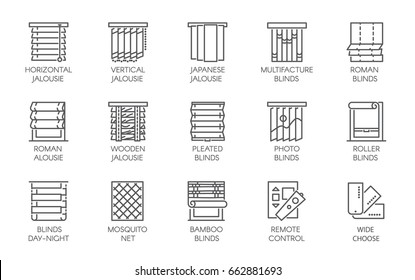 15 line icons of various designs of curtains, blinds, jalousie, mosquito nets and remote control. Big vector set of contour labels isolated on a white background