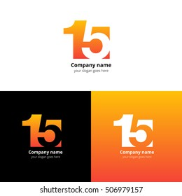 15 logo icon flat and vector design template. Monogram numbers one and five. Logotype fifteen with orange gradient color. Creative vision concept logo, elements, sign, symbol for card, brand, banners.