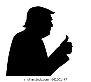 15 May, 2017: 45th President of United States. Black and white vector silhouette of Donald Trump with thumbs up.
