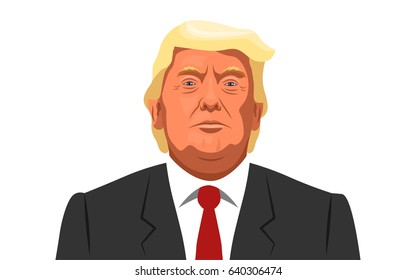 15 May, 2017. Portrait of US President Donald Trump in cartoon style