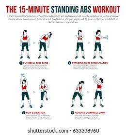 15 minute standing abs workout. Fitness, Aerobic and workout exercise in gym. Vector set of gym icons in flat style isolated on white background. People in gym. Gym equipment, dumbbell.