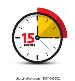 15 Minutes Clock Icon. Vector Fifteen Minute Symbol Isolated on White Background.
