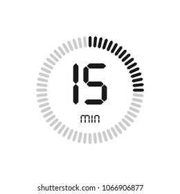 The 15 minutes, stopwatch vector icon, digital timer. clock and watch, timer, countdown symbol.