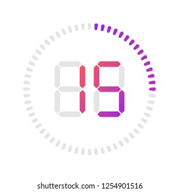 The 15 minutes, stopwatch vector icon, digital timer. Vector digital count down circle board with circle time pie diagram. Watch outline style design, designed for web and app.