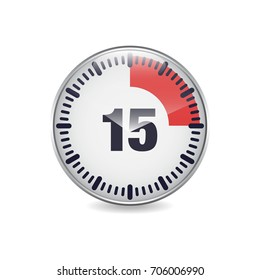 15 minutes time break circular button icon for web. vector illustration