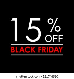 15% off. Black Friday sale and discount banner. Sales tag design template. Vector illustration.