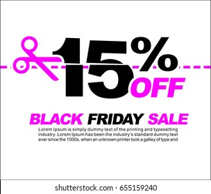 15% OFF Black Friday Sale, Promotional Poster or Sticker Design Vector Illustration